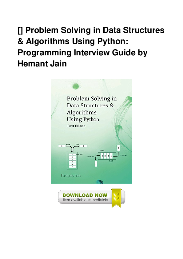 PDF) Pdf Problem Solving In Data Structures Algorithms Using