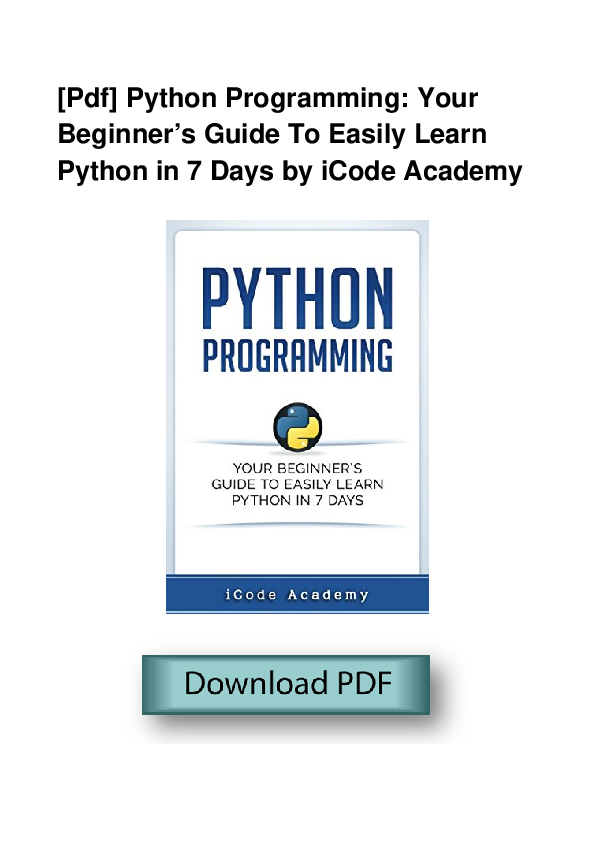 PDF) PDF Python Programming Your Beginner s Guide To Easily