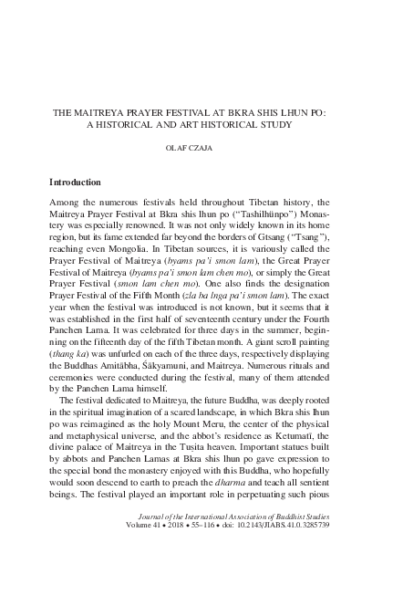 PDF) THE MAITREYA PRAYER FESTIVAL AT BKRA SHIS LHUN PO: A