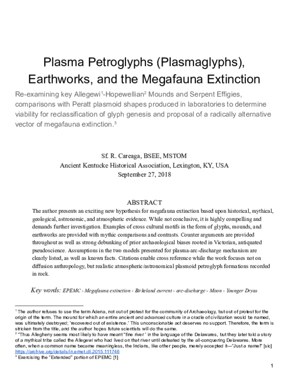 PDF) Plasma Petroglyphs (Plasmaglyphs), Earthworks, and the