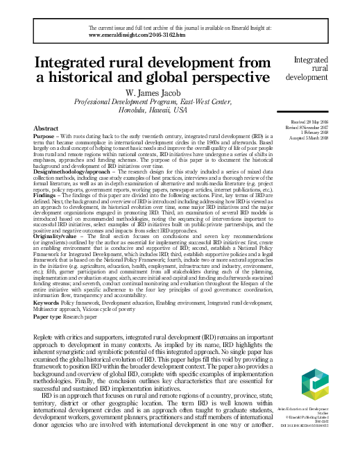 PDF) Integrated rural development from a historical and global