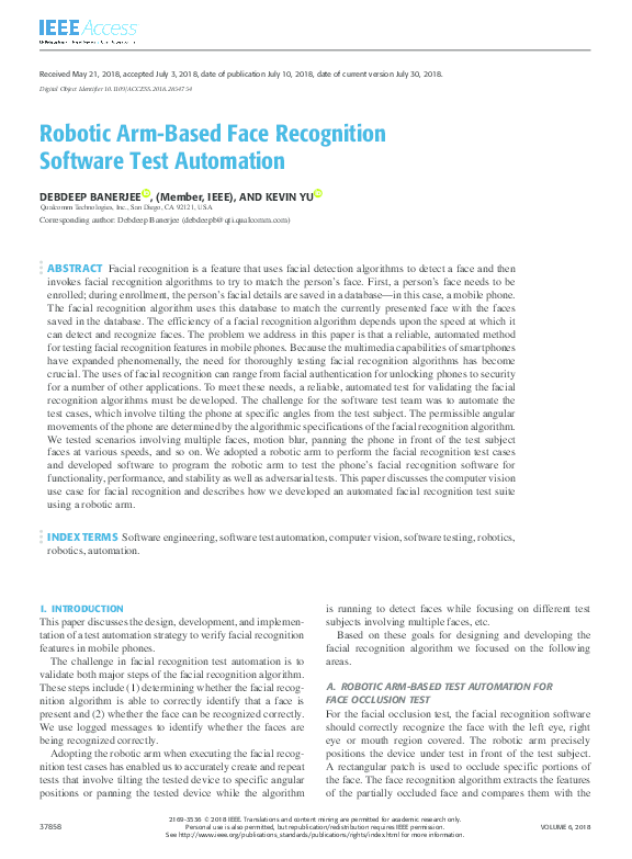 PDF) Robotic Arm-Based Face Recognition Software Test Automation