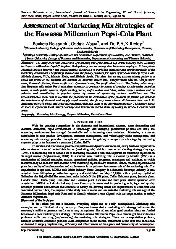 PDF) Assessment of Marketing Mix Strategies of the Hawassa