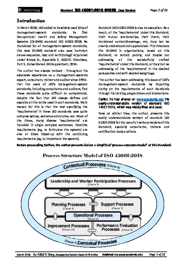 PDF) ISO 45001:2018 - Easy Version   Akhil K Garg - Academia edu