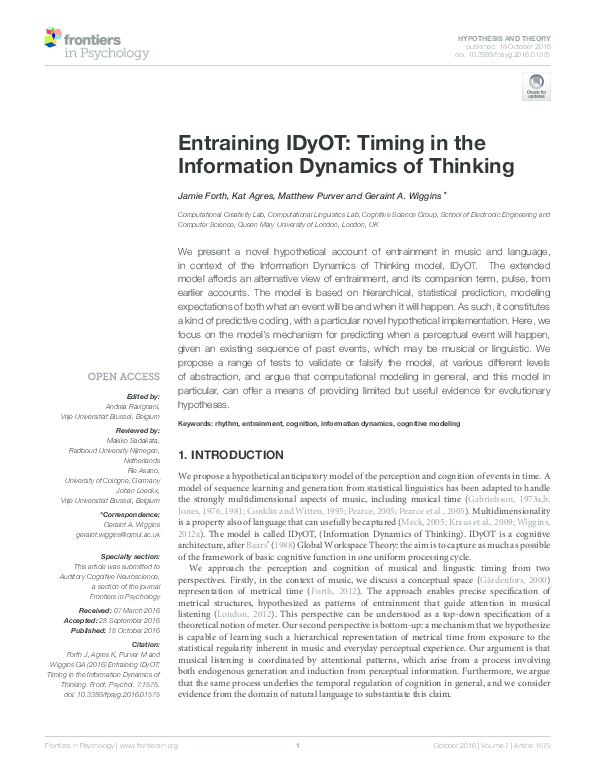 PDF) Entraining IDyOT: Timing in the Information Dynamics of