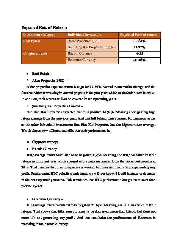 bitcoin rate of return
