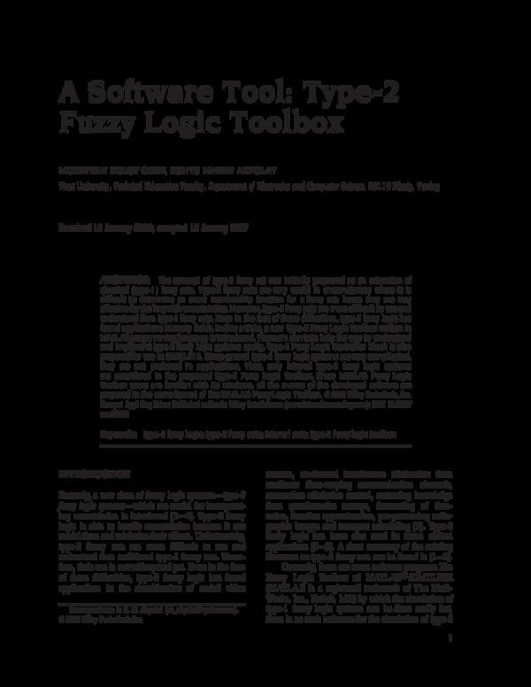 PDF) A Software Tool: Type-2 Fuzzy Logic Toolbox | biba la