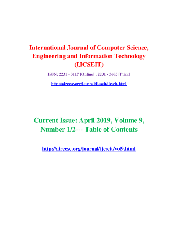 PDF) Current Issue: April 2019, Volume 9, Number 1/2