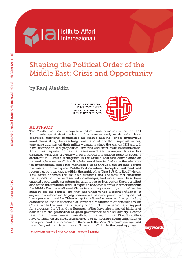 PDF) Shaping the Political Order of the Middle East: Crisis and