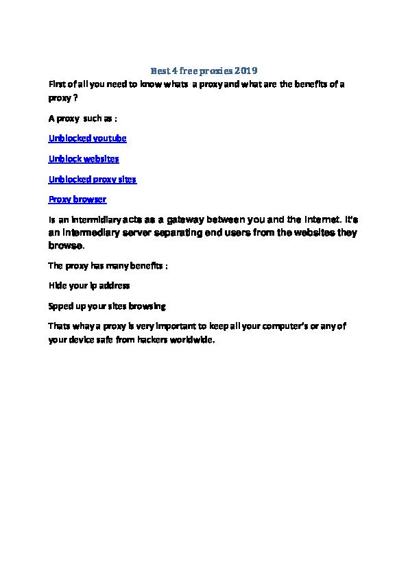 PDF) Best 4 free proxies | Best IPTV - Academia edu