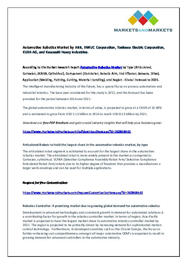 PDF) Automotive Robotics Market by ABB, FANUC Corporation