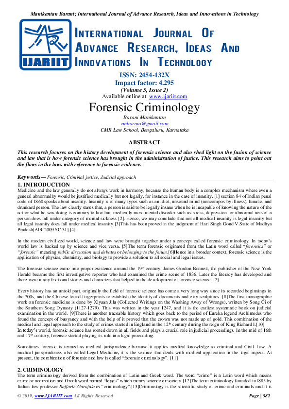 Pdf Forensic Criminology Ijariit Journal Academia Edu