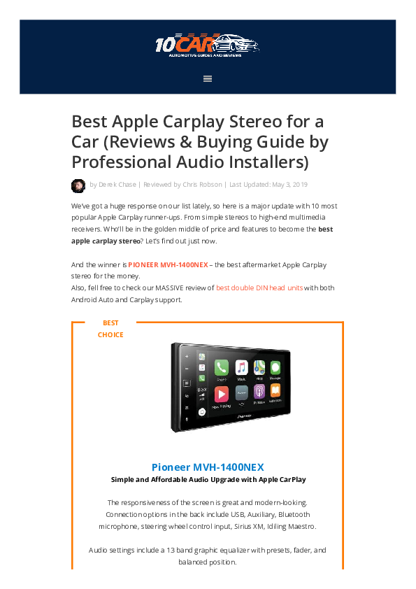 PDF) Best Apple Carplay Stereo for a Car (Reviews & Buying