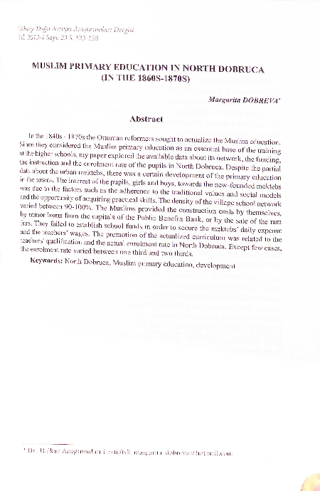 PDF) Margarita DOBREVA, MUSLIM PRIMARY EDUCATION lN NORTH