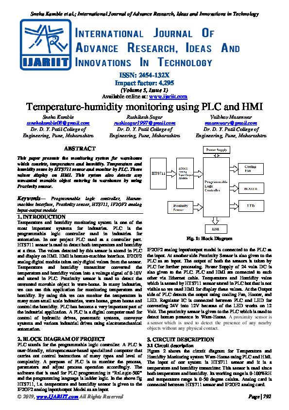 PDF) Temperature-humidity monitoring using PLC and HMI