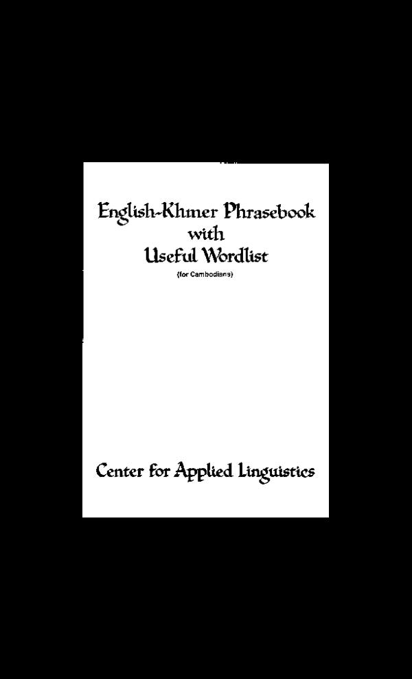 PDF) English-Khmer Phrasebook | Hannay Gamal - Academia edu
