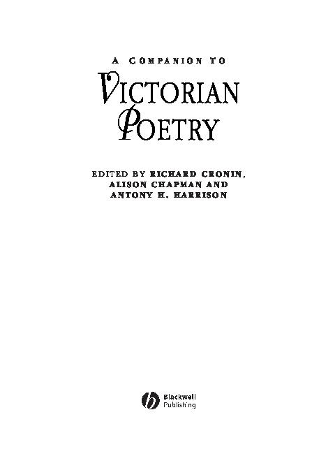 PDF) A C O M P A N I O N T O VICTORIAN POETRY   Hamid