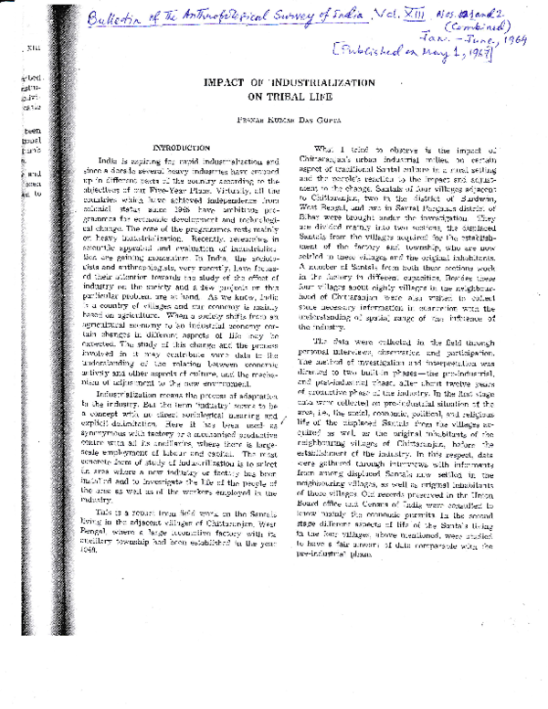 PDF) Impact of industrialization on tribal life by Pranab