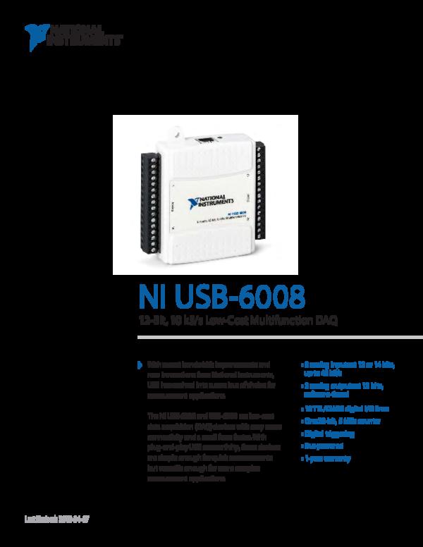 (PDF) NI USB-6008 12-Bit, 10 kS/s Low-Cost Multifunction