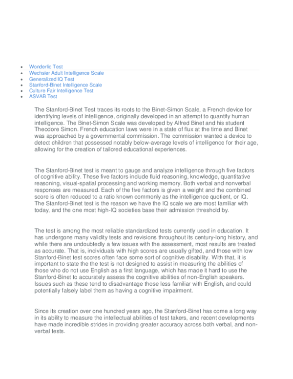 DOC) Stanford-Binet Intelligence Scale   Riffat Perveen - Academia edu
