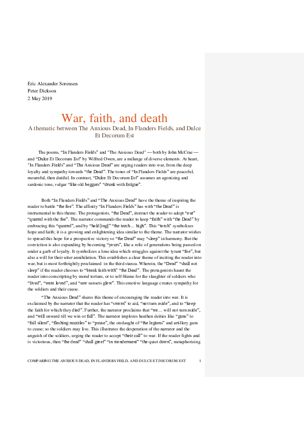DOC) A Comparative Essay Regarding In Flanders Fields, Dulce