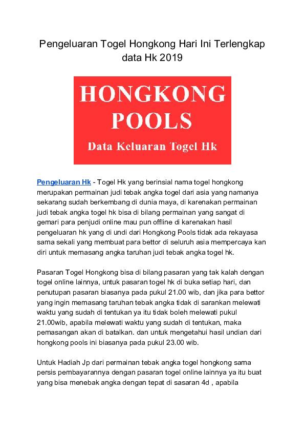 PDF) Pengeluaran togel hongkong hari ini terlengkap data hk   Dessy