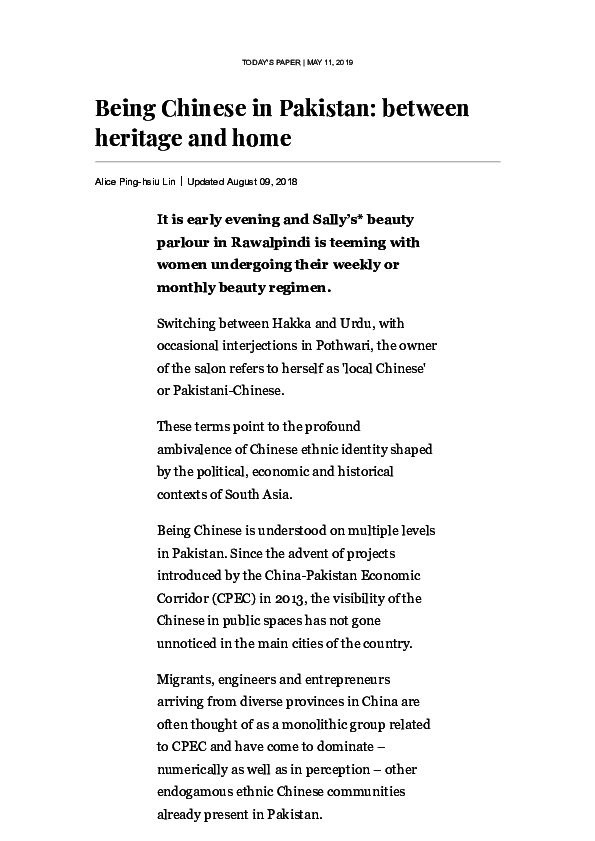 PDF) Being Chinese in Pakistan: between heritage and home | Alice