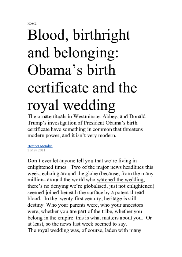 DOC) Blood, birthright, and belonging: Obama's birth