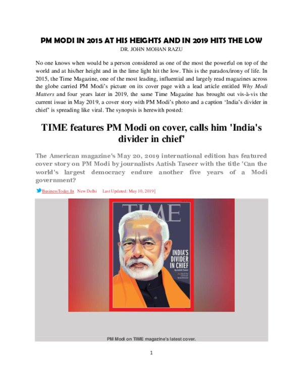 PDF) TIME features PM Modi on cover, calls him 'India's