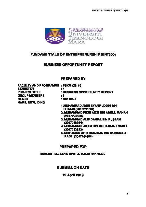 Doc Business Opportunity Amir Shaari Academia Edu