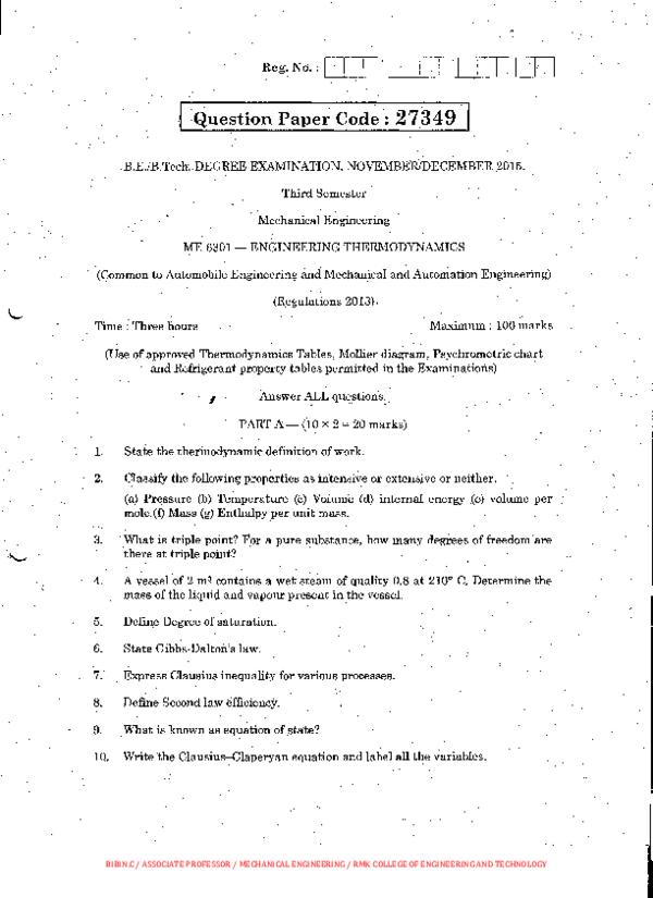 PDF) ME6301 ENGINEERING THERMODYNAMICS UQ NOV DEC | Bibin