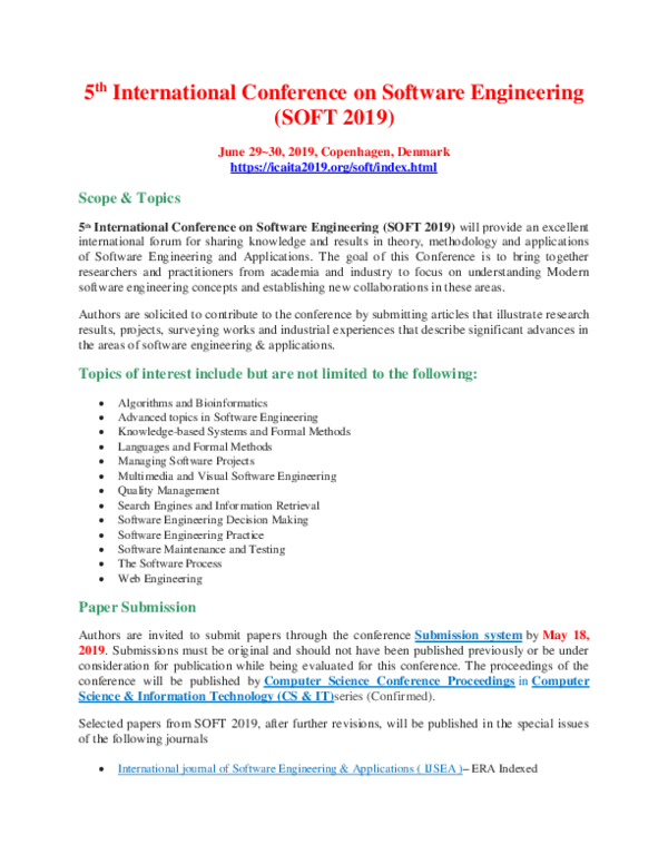 PDF) 5th International Conference on Software Engineering