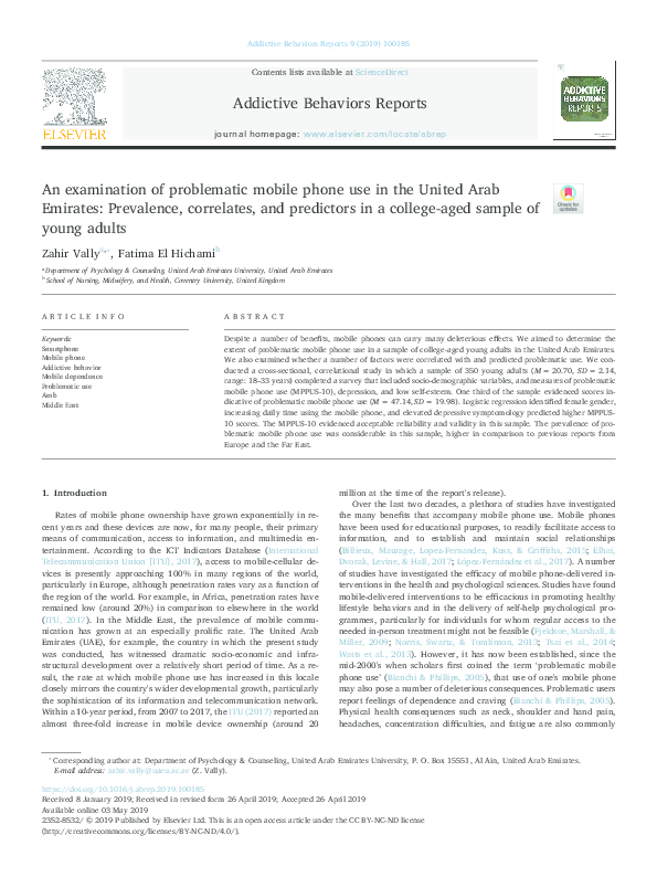 PDF) An examination of problematic mobile phone use in the