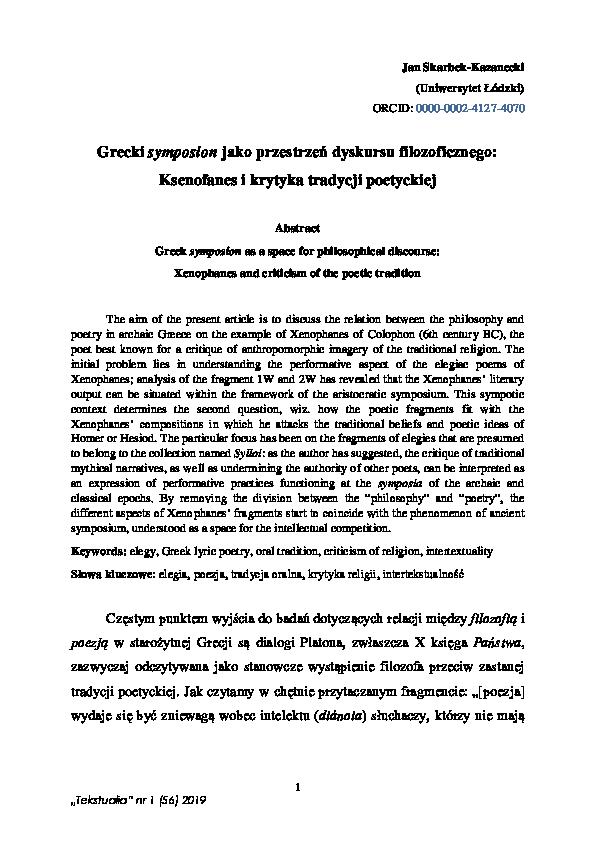 Pdf Grecki Symposion Jako Przestrzeń Dyskursu