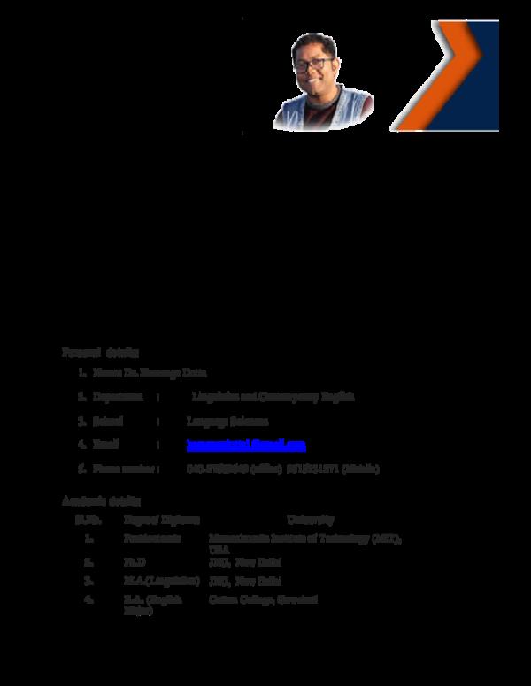 PDF) CV Hemanga Dutta | Dr  Hemanga Dutta - Academia edu