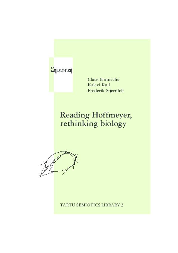 Pdf  Reading Hoffmeyer  Rethinking Biology