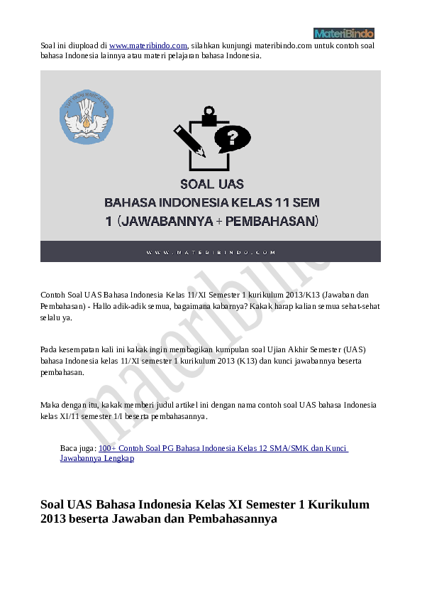 Pdf Soal Uas Bahasa Indonesia Kelas 11 Semester 1 Materi Bindo Academia Edu