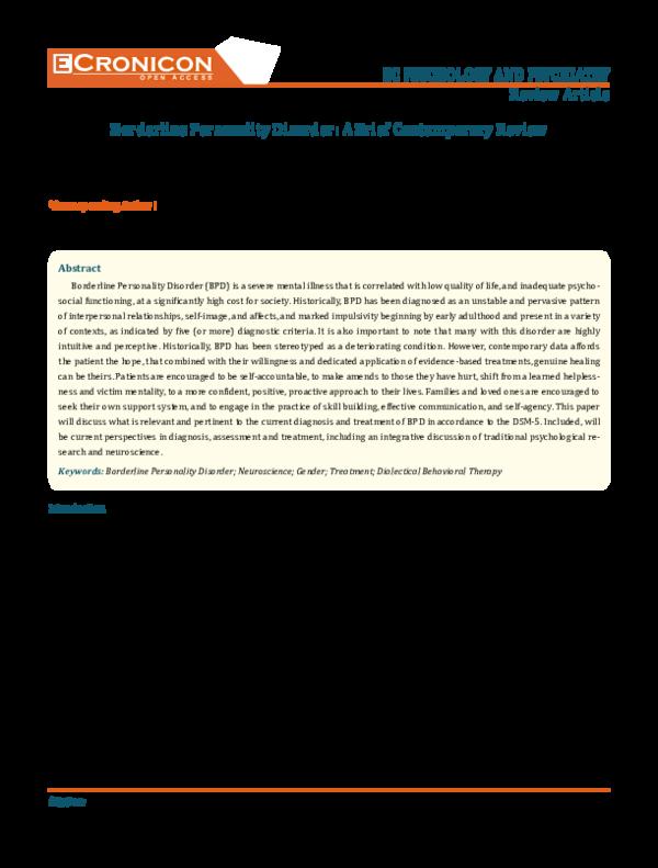 PDF) Borderline Personality Disorder: A Brief Contemporary