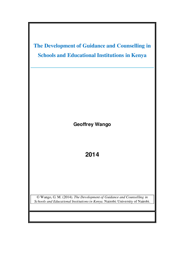 PDF) The Development of Guidance and Counselling in Schools