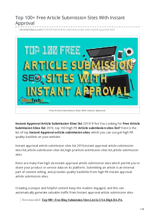 PDF) Top 100 Free Article Submission Sites With Instant