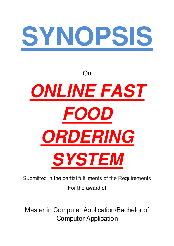 PDF) SYNOPSIS ONLINE FAST FOOD ORDERING SYSTEM Submitted in