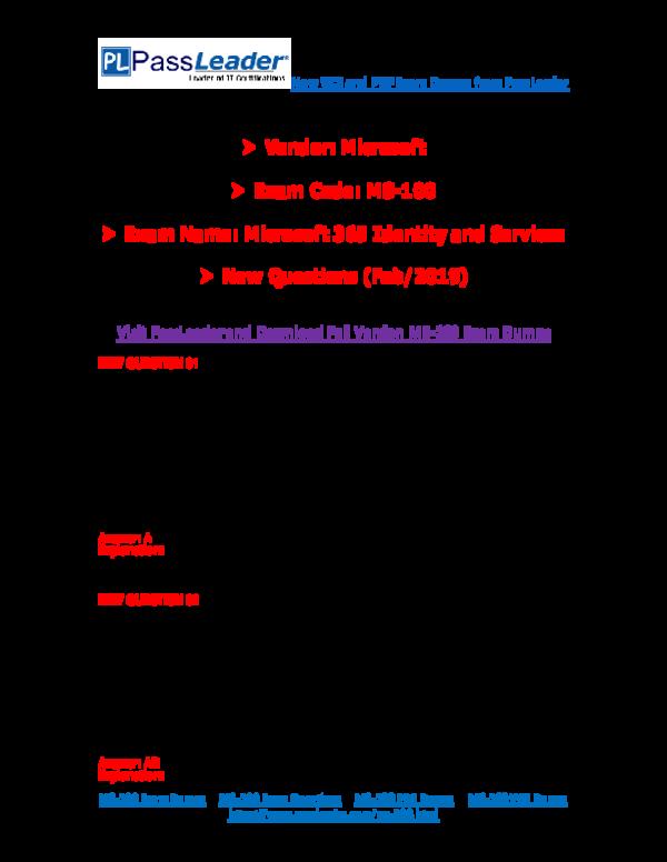 PDF) 2019-New-PassLeader-MS-100-Exam-Dumps-VCE-PDF-Braindumps-Exam