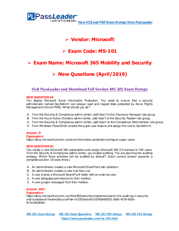 PDF) 2019-New-PassLeader-MS-101-Exam-Dumps-VCE-PDF-Braindumps-Exam