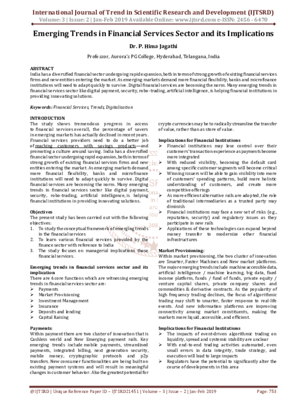 PDF) Emerging Trends in Financial Services Sector and its