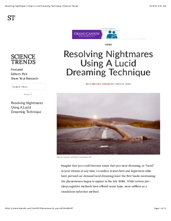 PDF) Resolving Nightmares Using A Lucid Dreaming Technique