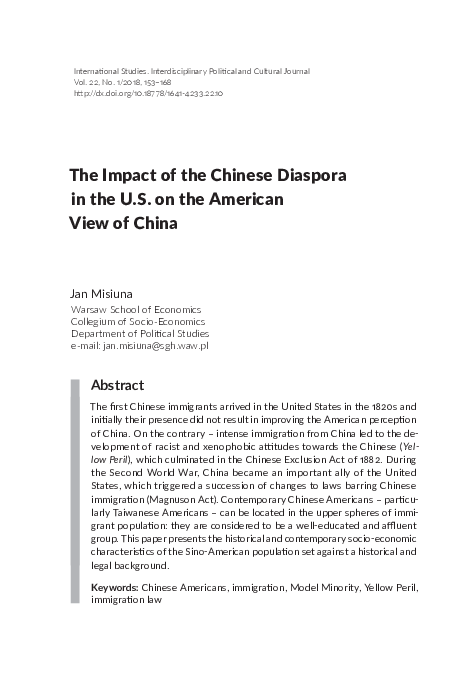 PDF) The Impact of the Chinese Diaspora in the U S  on the
