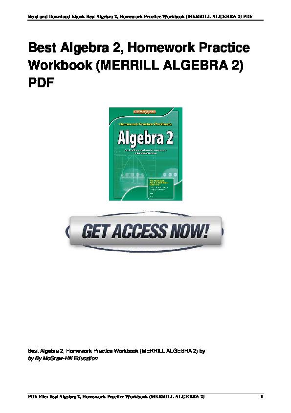 PDF) Best 0076602990 Algebra 2 Homework Practice Workbook