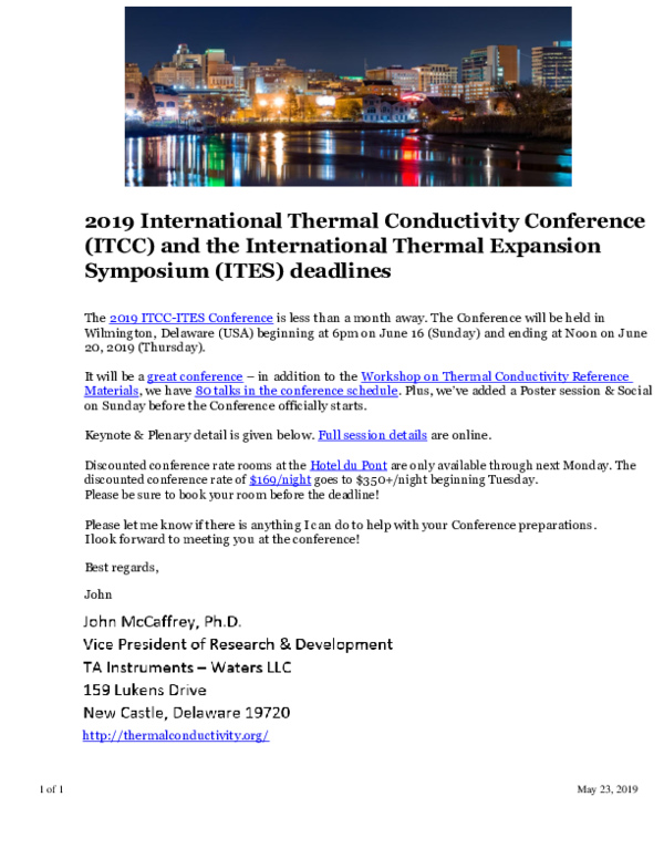 PDF) 2019 International Thermal Conductivity Conference