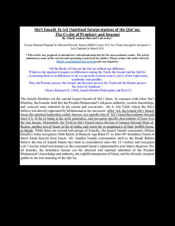 PDF) Shi'i Ismaili Ta'wil (Spiritual Interpretation) of the