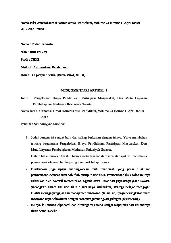 Doc Anotasi Jurnal Administrasi Pendidikan Endah Permata Academia Edu